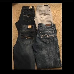 Lot 4 pairs of girls justice skinny jeans sz 10.5